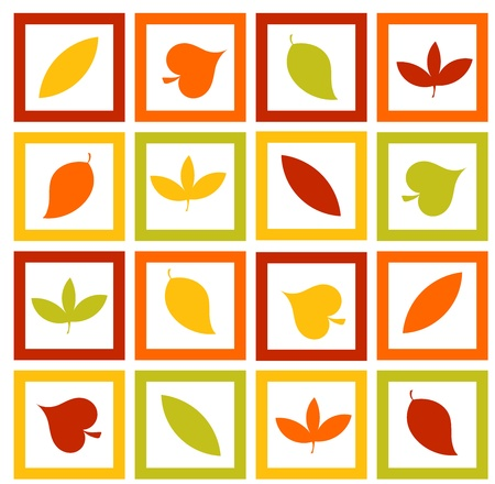 Colorful texture with autumn leaves in frames Stock Vector - 15809713