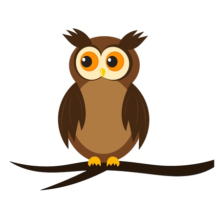 owl symbol: Cartoon owl sitting on tree branch