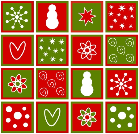 Christmas tiles with symbols Vector