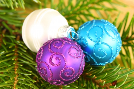 Christmas glass ornaments on fresh spruce branches Stock Photo - 16016585