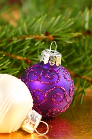 decorating christmas tree: Christmas glass balls in fresh conifer branches