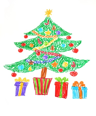 Colorful drawing of decorated Christmas tree and presents. Child style photo