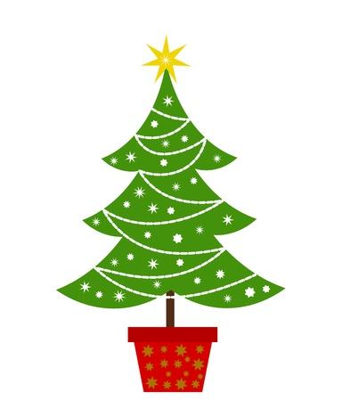 cartoon christmas tree: Christmas tree.  Illustration