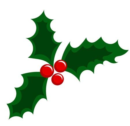 diciembre: Baya del acebo Navidad ilustración Vectores