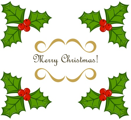 Holly berry Christmas frame Vector