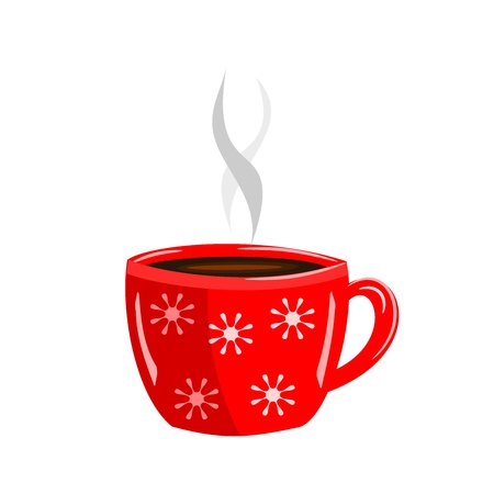 hot cocoa: Energizing red cup of hot coffee  Illustration