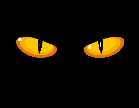 glowing skin: Ojos salvajes del gato en la oscuridad. Vectores