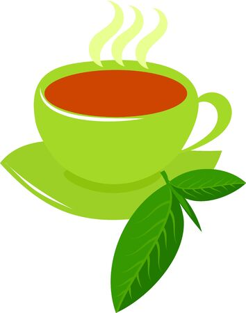 thea: Steaming black tea in green cup with tea leaf