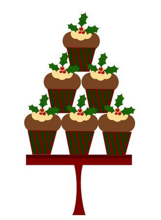christmas cake: Christmas cupcakes Illustration