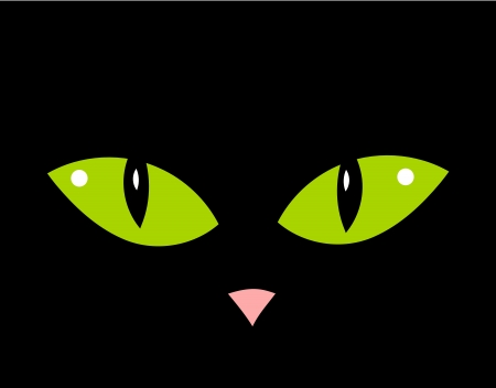 spooky eyes: Cute cat green eyes and nose in darkness Illustration