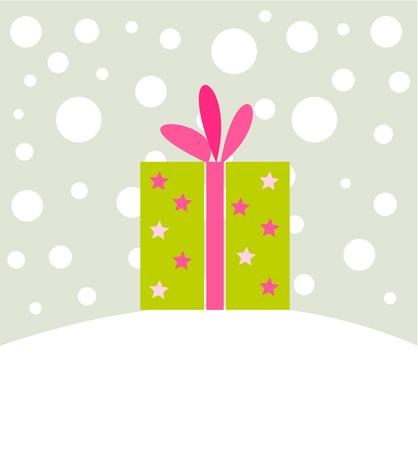 Christmas present in winter scenery.  Vector