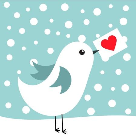 winter fun: Witte vogel met liefdesbrief in winterlandschap