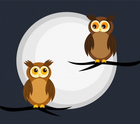 Owls couple in the night. Moon light Stock Vector - 16016001