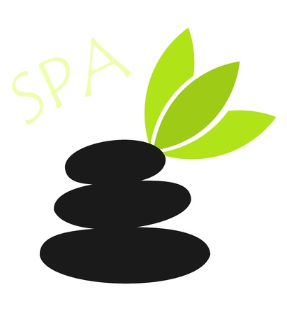 Spa - massage stones and leaf Stock Vector - 16015995