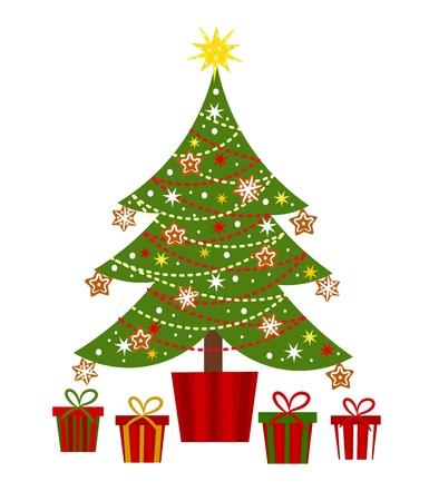 feliz: Decorato albero di Natale e regali