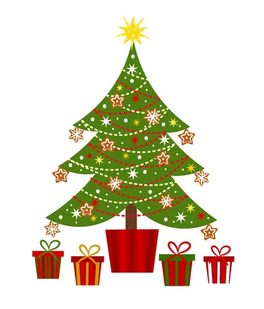 Versierde kerstboom en presenteert
