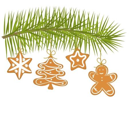 galletas de navidad: Navidad galletas de jengibre que cuelga en la rama Vectores