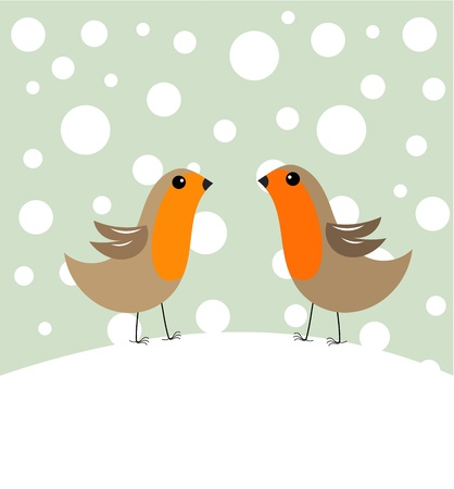 Couple of robin birds in winter scenery Vector