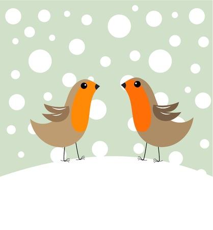 christmas robin: Couple of robin birds in winter scenery