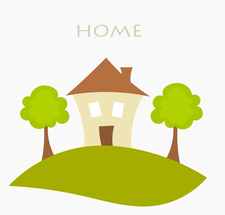 cartoon building: House on the hill - symbolic illustration Illustration