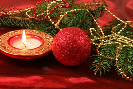 subdued: Red Christmas decoration Stock Photo
