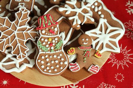 Christmas gingerbread cookies - cheerful man and snowman photo