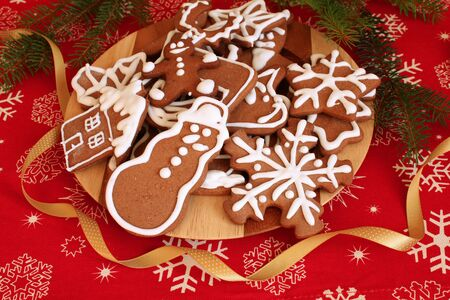 Christmas gingerbread cookies decorated with icing photo
