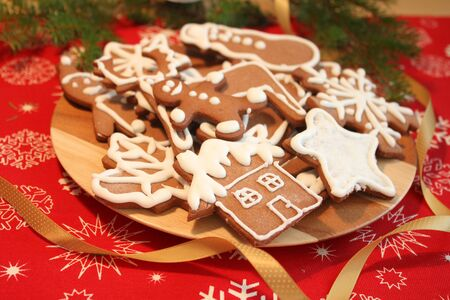 Christmas gingerbread cookies on plate photo
