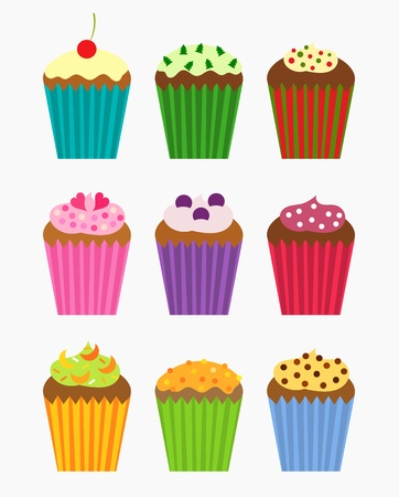 blueberry muffin: Various flavors of cupcakes - vector collection