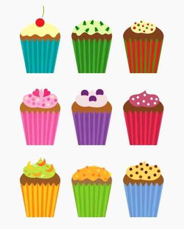 fairycake: Various flavors of cupcakes - vector collection