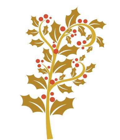 holly leaves: Holly berry - gold branch with red fruits. Christmas symbol Illustration
