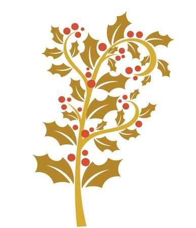 Holly berry - gold branch with red fruits. Christmas symbol Ilustração