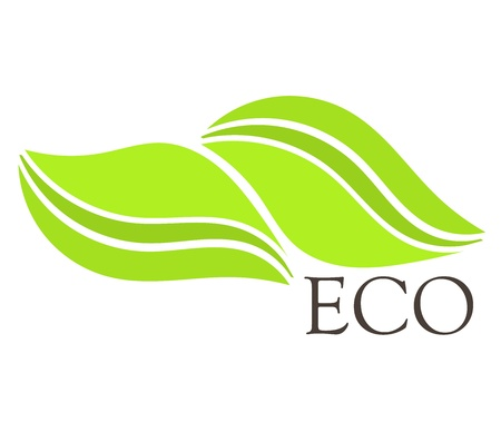 eco logo: Two green leaves - ecological concept. Vector illustration