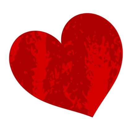 Grungy red heart. Vector illustration Stock Vector - 16842676
