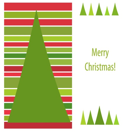 Christmas red and green stripes card design. Vector