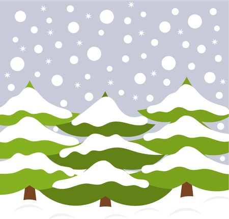 Christmas trees in snow - outdoors Illustration