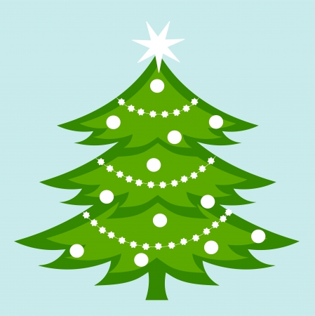 christmas decorations with white background: White decorated Christmas tree.