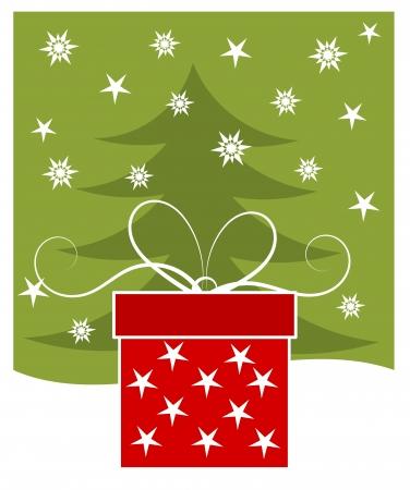 Christmas gift - holiday card Illustration