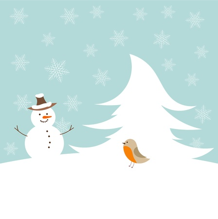 Snowman and robin bird - cute winter Vector