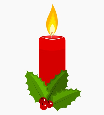 Christmas candle and holly berry.