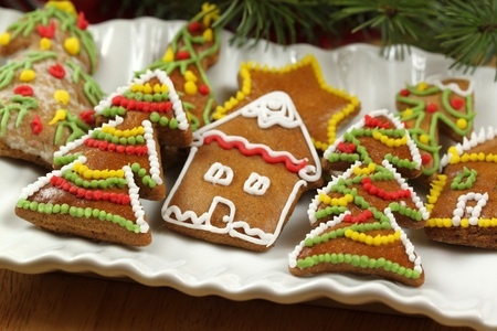 Christmas cookies - home made and handmade icing colorful ornaments photo