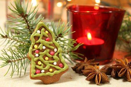 Gingerbread Christmas tree and decoration photo