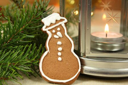 Gingerbread snowman - Christmas cookie photo
