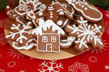 Plate of Christmas gingerbread cookies photo