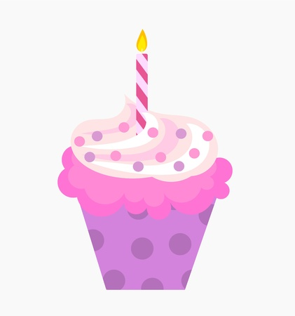 fairycake: Birthday cupcake with pink cream and candle. Vector illustration Illustration