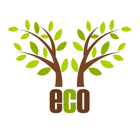 simple life: Small trees - eco concept vector illustration