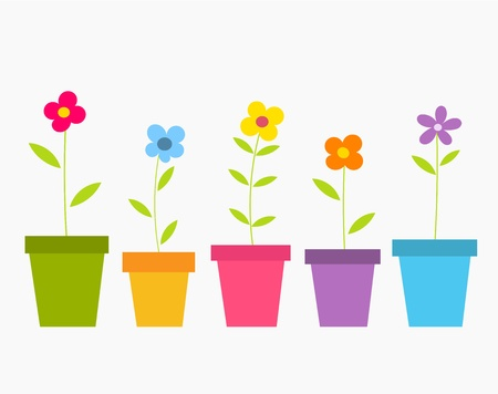 Cute spring colorful flowers in pots. Vector illustration Çizim