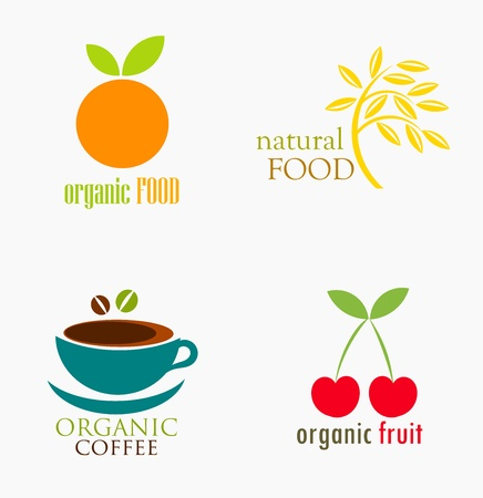 Set of organic and natural food symbols. Vector illustration Vector