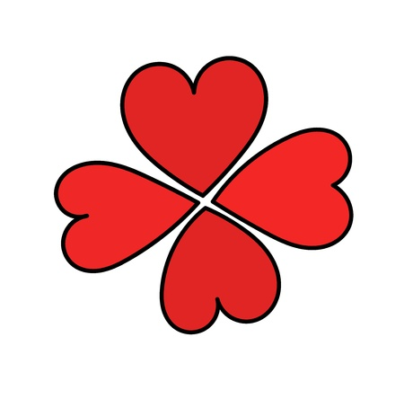 Red hearts forming a clover - symbolic love sign Vector