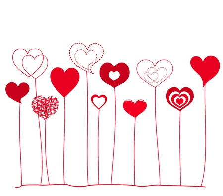 Various hearts growing.  love background Ilustração